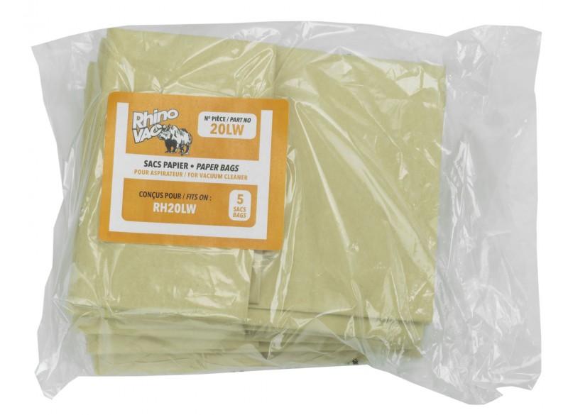 Sac en papier pour aspirateur d'atelier RhinoVac RH20LW - paquet de 5 sacs