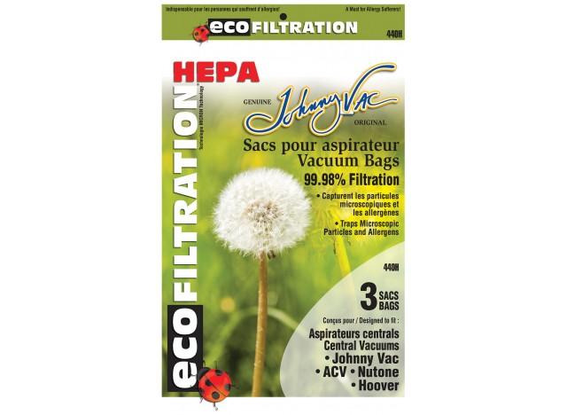 Sacs microfiltre HEPA pour aspirateurs centraux - Johnny Vac - Rhinovac - Nutone - Hoover - Kenmore et bien d'autres marques - p
