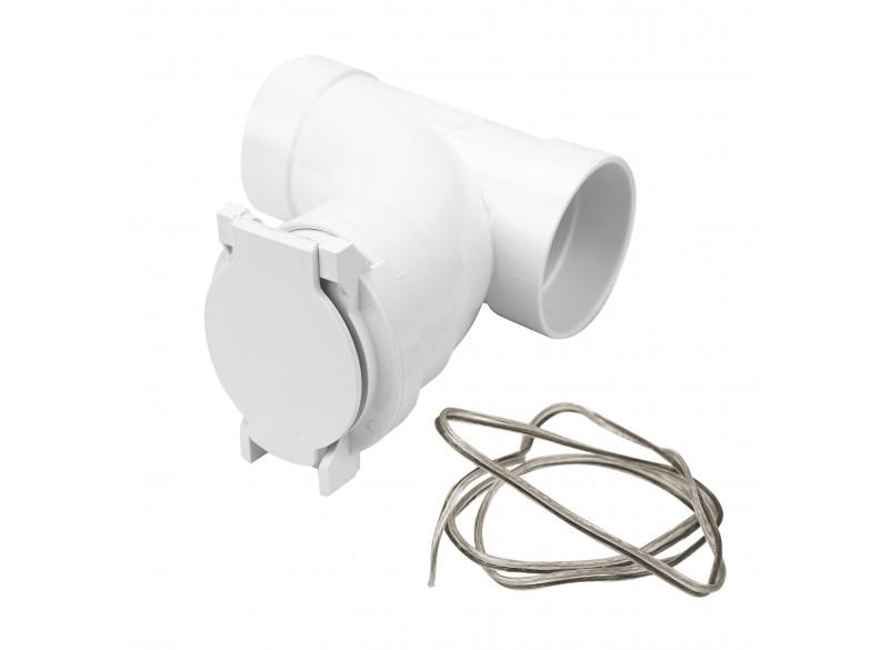 Ensemble comprenant coude 90° de forme T, une prise d'entrée électrique et un fil électrique 24 V pour aspirateur central