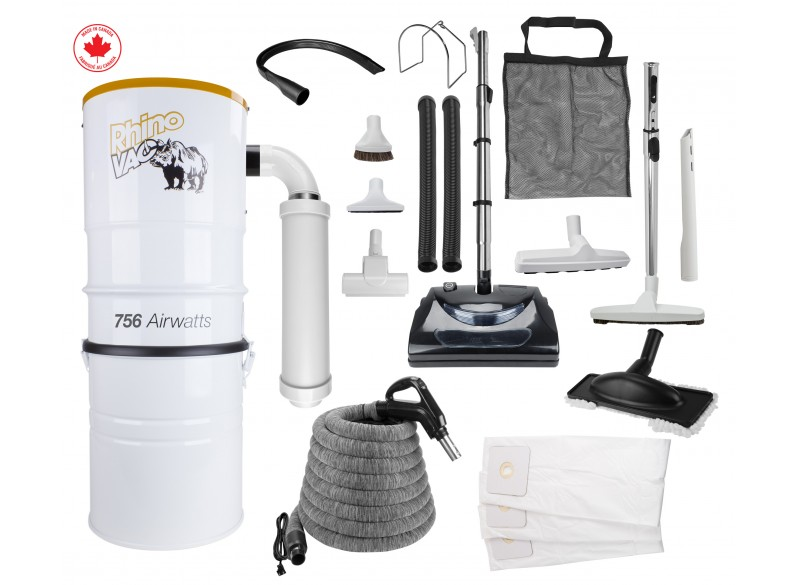 Rhinovac Central Vacuum 756 W - Power Nozzle - 30' (9 m) Hose with Cover - Complete Set of Accessories