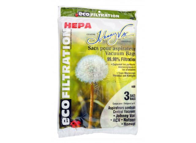 Sac microfiltre HEPA pour aspirateurs central Johnny Vac, Rhinovac, Nutone, Hoover, Kenmore et bien d'autres marques - paquet de
