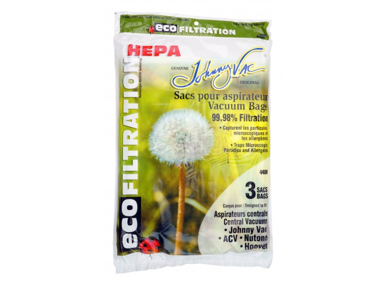 HEPA Microfilter Bag for Central Vacuum Johnny Vac, Rhinovac, Nutone, Hoover, Kenmore and Many More - Pack of 3 Bags - Envirocar