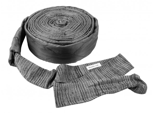 Cover for 30' (9 m) Hose of Central Vacuum Cleaner - Padded - with Zipper - Grey - VacSoc - VS-PZGY30